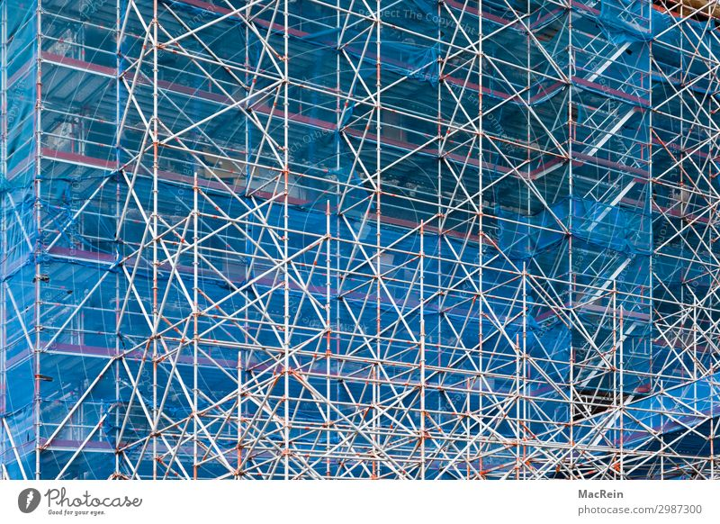 scaffolding Construction site Church Dome Wall (barrier) Wall (building) Facade Net Blue Protection Responsibility Scaffold Scaffolding Montage