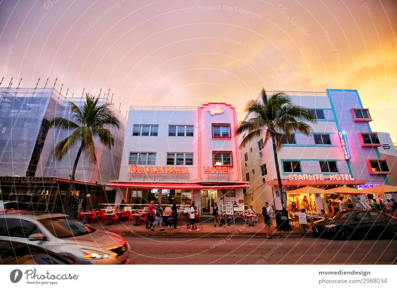 Hotels on Ocean Drive Lifestyle Shopping Town Street Hip & trendy Original Positive Warmth Miami Miami Beach American Flag Florida Palm tree Construction site