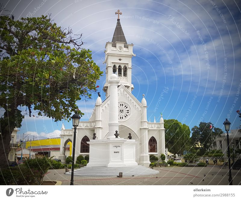 Cathedral of San Pedro de Macorís Port City Downtown Deserted Church Tourist Attraction Relaxation Blue Gray Green White Dominican Republic Vacation & Travel