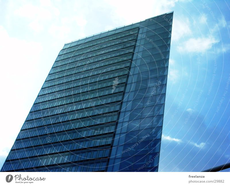 skyscraper High-rise Corner building Story Architecture Blue office building