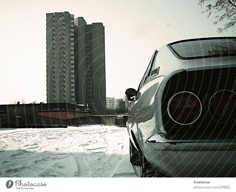 Winter Snow Car High-rise Retro Parking Parking lot Vintage car Section of image Partially visible Iconic Rear light Stern Collector's item Car body
