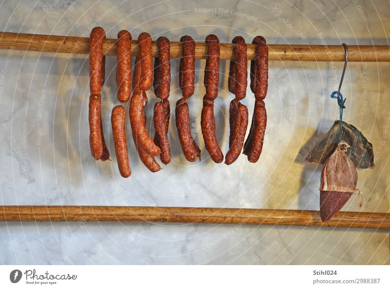 air-dried sausages Food Sausage Salami Smoked sausages spread Brunch Shopping Healthy Eating Butcher Wood Hang Delicious Brown Orderliness Appetite Gluttony
