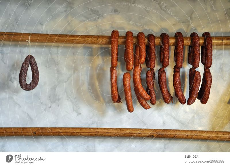 Mettwurst - always long on the wall Sausage Smoked sausages spread Salami air-dried well bourgeois Brunch Shopping Healthy Eating Wood Hang Retro Dry Brown