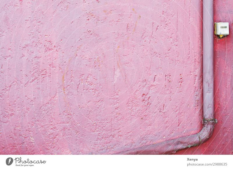 Pink wall with gutter Wall (barrier) Wall (building) Eaves Background picture Retro Old Plaster Colour photo Exterior shot Deserted Copy Space left