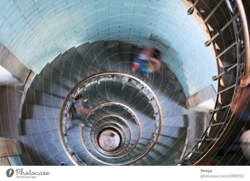 Spiral staircase lighthouse Stairs Winding staircase Architecture rail Banister Interior shot Colour photo blurriness Movement motion blur Turquoise Esthetic