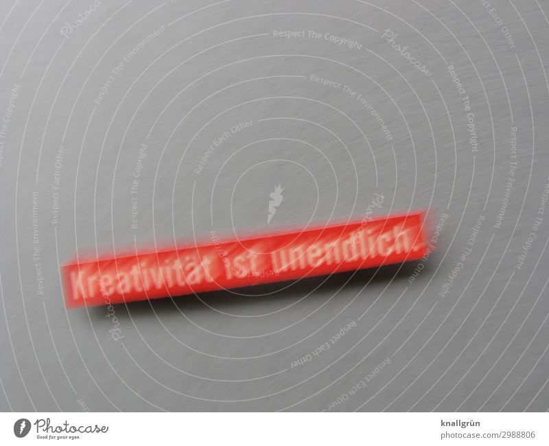 Creativity is infinite. Characters Signs and labeling Communicate Uniqueness Gray Red Emotions Curiosity Interest Idea Inspiration Art Colour photo Studio shot