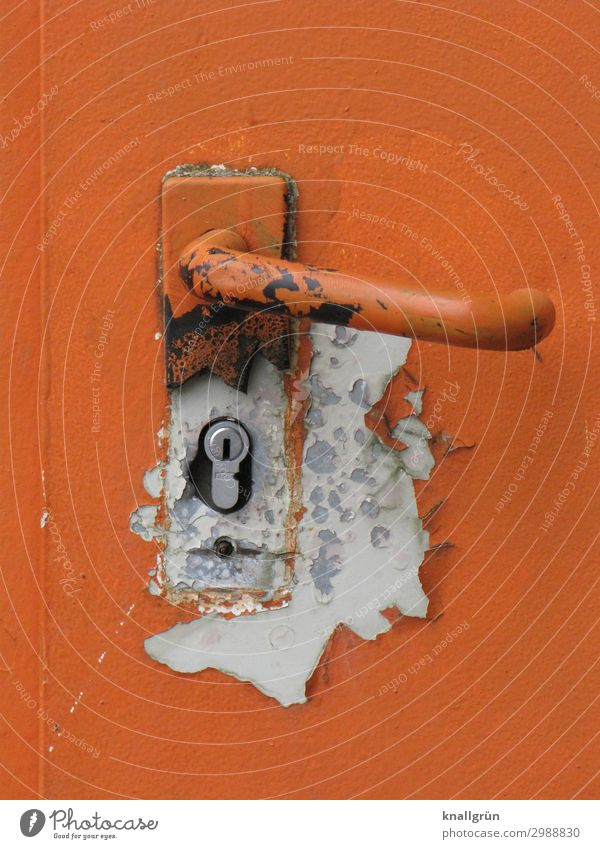 The paint is off Door Door lock Door handle Old Dirty Sharp-edged Broken Orange White Colour Safety Decline Rust Flake off Colour photo Exterior shot Deserted