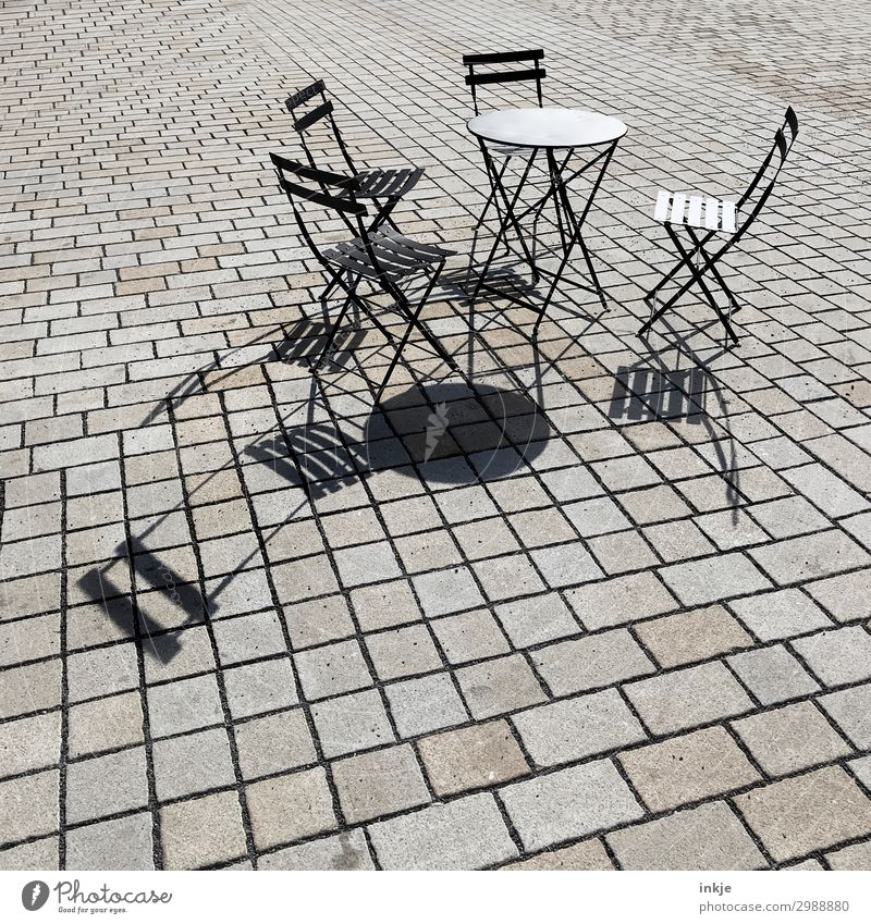 Prague street café Lifestyle Restaurant Going out Café Gastronomy Sidewalk café Deserted Places Folding chair Chair Table Garden table Pave Stone Metal