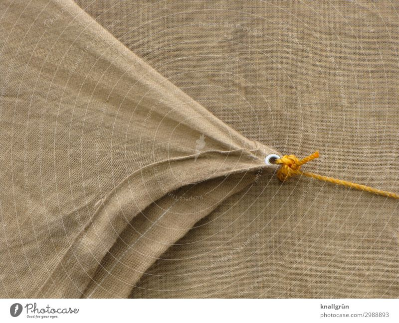 Tightly lashed Covers (Construction) String Rope Firm Brown Yellow Silver Protection Safety Logistics tethered Knot Colour photo Exterior shot Deserted