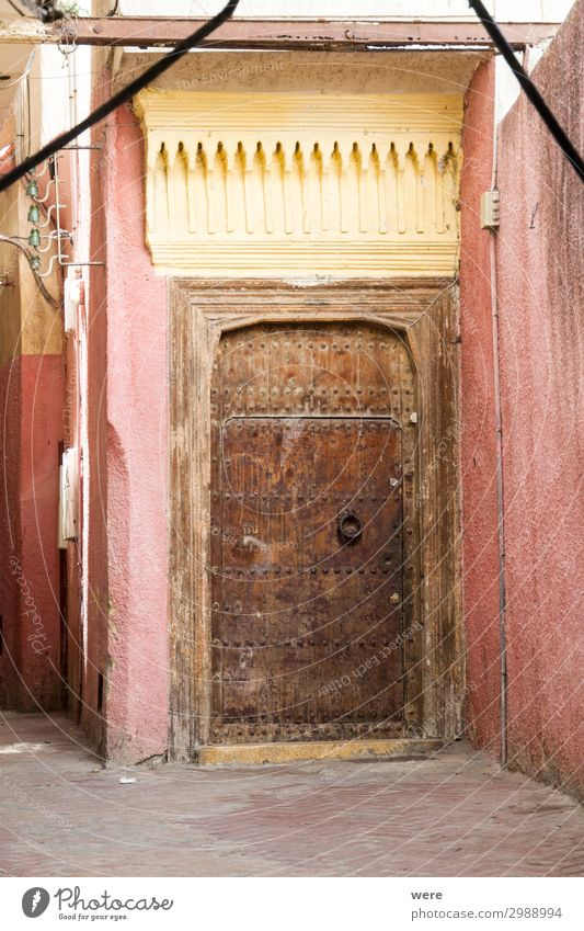 Door in the Medina of Tangier Vacation & Travel Tourism Town Port City Old town Cool (slang) archway morocco alley calm colorful copy space countryside exotic