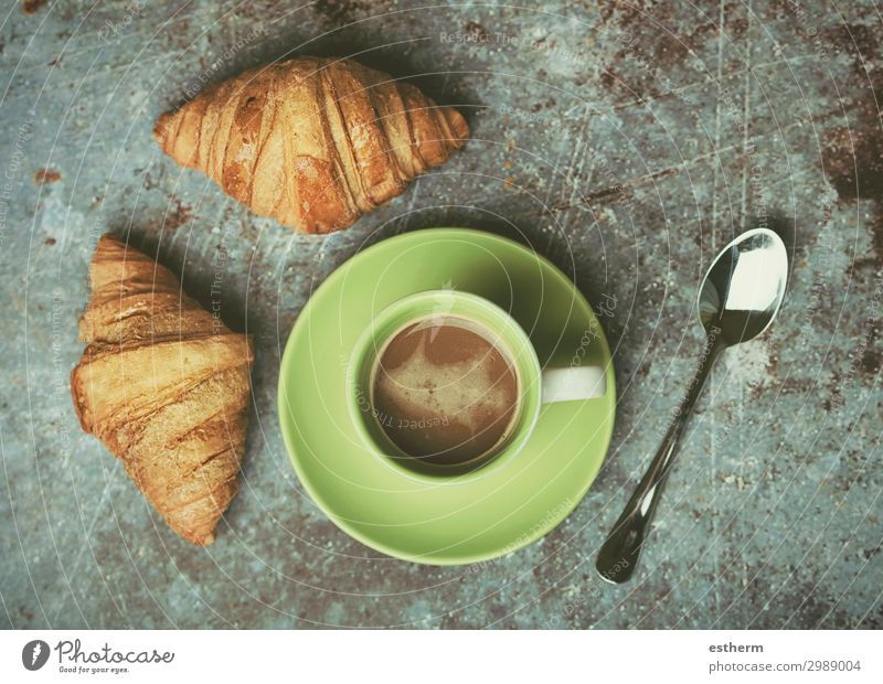 cup of coffee and croissants Food Bread Roll Croissant Dessert Candy Nutrition Breakfast Lunch To have a coffee Hot drink Coffee Spoon Kitchen Diet Feeding
