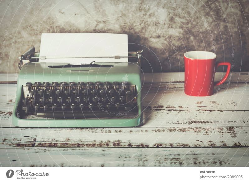 old typewriter next to a cup of coffee Drinking Cold drink Hot drink Coffee Latte macchiato Espresso Tea Lifestyle Wellness Relaxation Leisure and hobbies Table