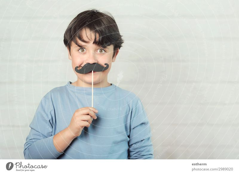 Happy father´s day,boy with false mustache on stick Child Human being Man Blue Joy Lifestyle Adults Funny Emotions Family & Relations Feasts & Celebrations
