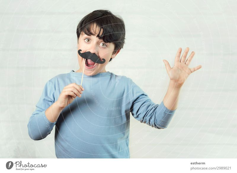 Happy father´s day,boy with false mustache on stick Child Human being Man Blue Joy Lifestyle Adults Funny Emotions Family & Relations Laughter