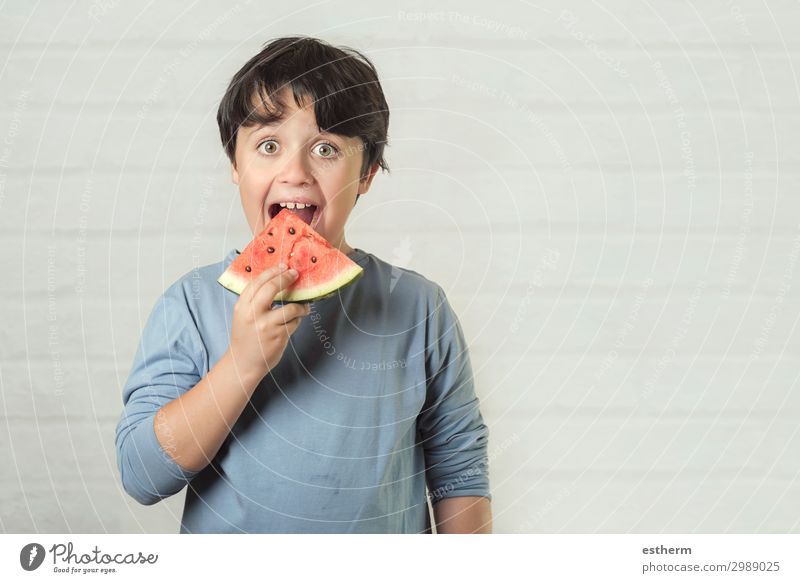 happy child eating watermelon Child Human being Vacation & Travel Summer Joy Eating Lifestyle Emotions Happy Boy (child) Fruit Nutrition Masculine Smiling