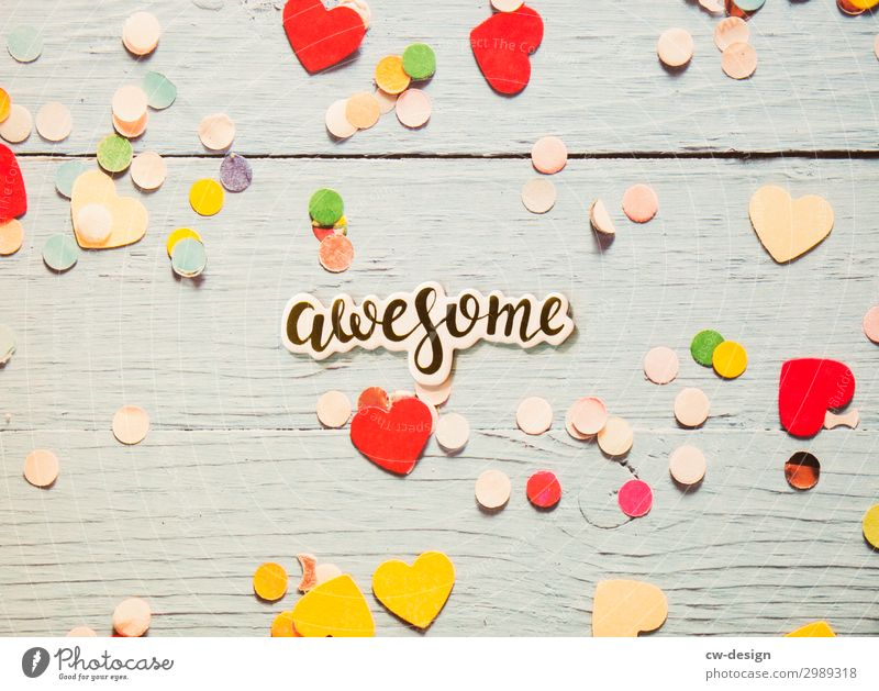 Awesome' on wooden background with hearts and confetti Letters (alphabet) Signs and labeling Characters lettering White Communicate Word Text Copy Space