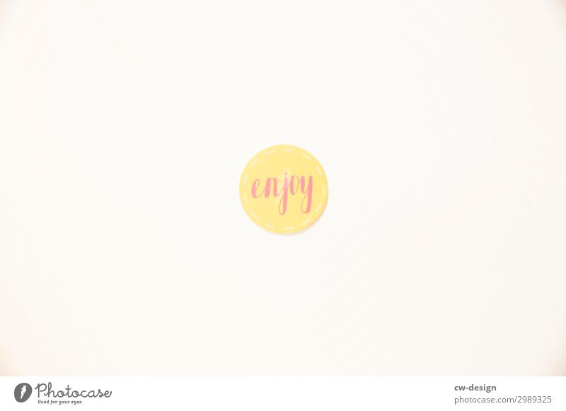 enjoy sign on white background To enjoy Joy Summer Letters (alphabet) Signs and labeling lettering Characters White Communicate Copy Space Copy Space top