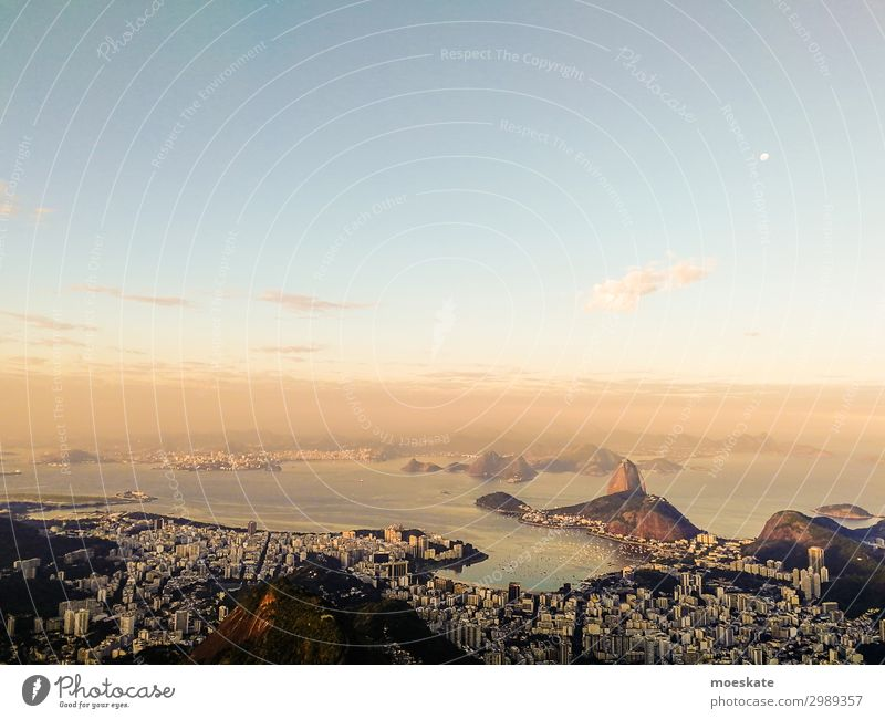 Rio Landscape Infinity Rio de Janeiro Brazil Sugar loaf Sunset Bay Town City of millions South America Twilight Colour photo Subdued colour Exterior shot