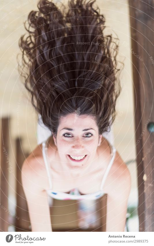 upside down woman in playground Happy Hair and hairstyles Woman Adults Playground Brunette Smiling Cool (slang) Eroticism Hanging 30s Mid adults attractive