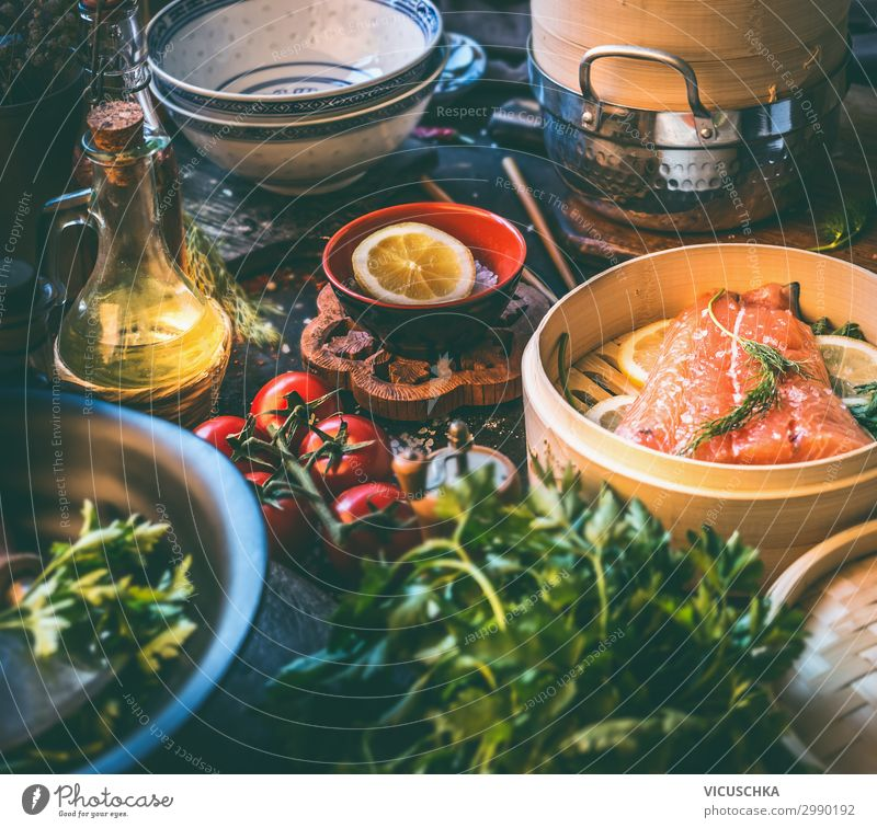 Salmon fillet in bamboo - steamer on kitchen table Food Fish Nutrition Lunch Organic produce Diet Crockery Design Healthy Eating Living or residing Table