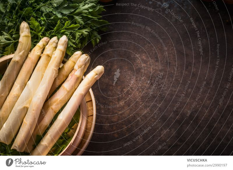 Fresh asparagus in the bamboo steamer Food Vegetable Nutrition Organic produce Vegetarian diet Diet Style Healthy Eating Table Restaurant Design Asparagus