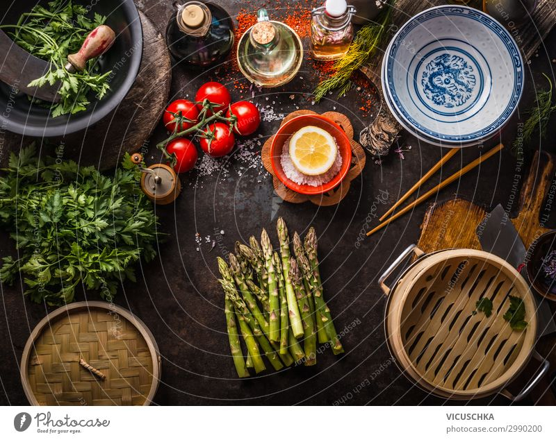 Green asparagus with Asian bamboo steamer Food Vegetable Herbs and spices Nutrition Organic produce Vegetarian diet Diet Asian Food Crockery Lifestyle Design