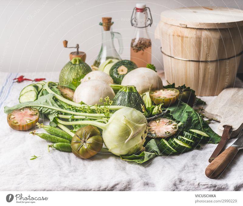 Piles of various green vegetables Food Vegetable Soup Stew Nutrition Organic produce Vegetarian diet Diet Crockery Style Healthy Eating Summer Design Zucchini