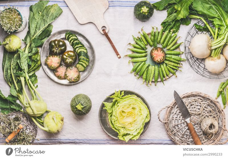 Green seasonal vegetables on the kitchen table Food Vegetable Nutrition Organic produce Vegetarian diet Diet Slow food Crockery Shopping Design Healthy Eating