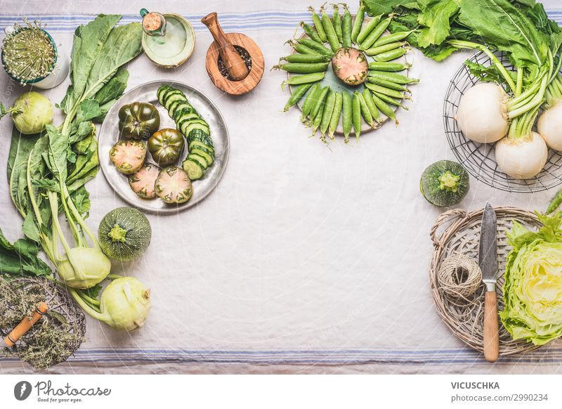 Green vegetables on the kitchen table Food Vegetable Nutrition Organic produce Vegetarian diet Diet Crockery Shopping Style Healthy Healthy Eating Summer Table