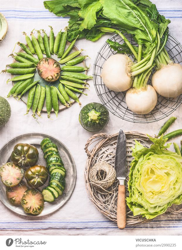 Cooking with green vegetables Food Vegetable Lettuce Salad Nutrition Organic produce Vegetarian diet Diet Crockery Shopping Design Healthy Eating Hip & trendy