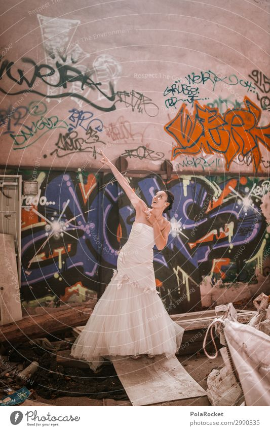 #A# Wedding Location Art Work of art Esthetic Bride Wedding dress Wedding ceremony Woman Desire Dream Contrast Abrupt Colour photo Subdued colour Interior shot