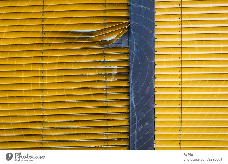 Defective slat shading on a window. Architecture Moody Commerce Administration Administration building Apartment Building Facade Glass Glas facade Modern Elbe