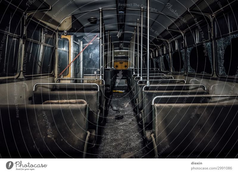 the tunnel | final destination Transport Means of transport Passenger traffic Public transit Road traffic Bus travel Vintage car Old Authentic Trashy Town