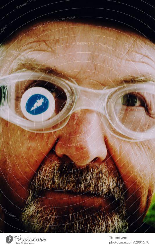 Human being Vacation & Travel Man Blue White Joy Black Emotions Head Brown Facial hair Logo Swimming goggles