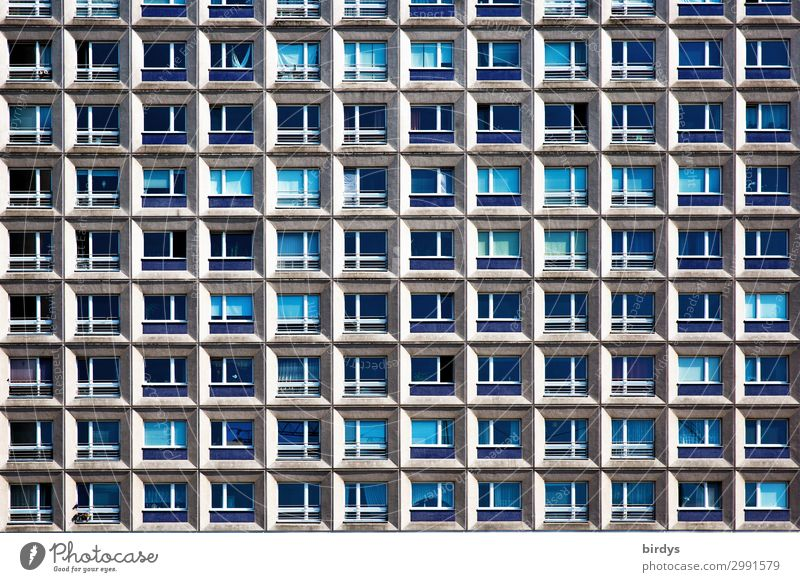 Blue Town House (Residential Structure) Window Architecture Berlin Facade Gray Living or residing Flat (apartment) Contentment High-rise Glass Authentic
