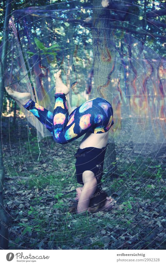 Open Air Yoga Athletic Fitness Life Feminine Body 18 - 30 years Youth (Young adults) Adults Summer Tree Bushes Moss Leggings Breathe Trashy Multicoloured