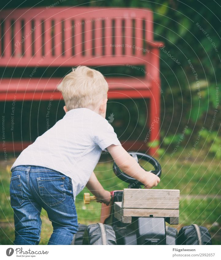 What do you do all day? Tractor Farmer Child Infancy Childhood memory Playing Driving Push Toys Car Toddler Bench Garden Courtyard Kindergarten