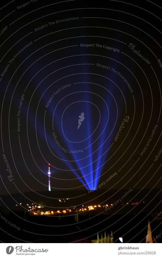 Ufo Landing Stuttgart Light (Natural Phenomenon) Disco Long exposure Night sky Dark Obscure Berlin TV Tower anti-aircraft headlights Advertising