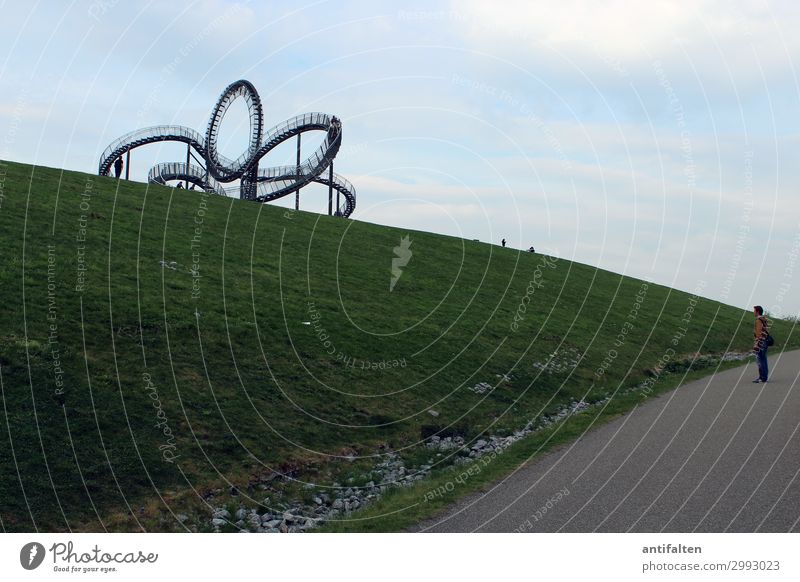 Magic Mountain Lifestyle Tourism Trip Far-off places Human being Masculine Man Adults Partner Body 1 30 - 45 years Art Work of art Sculpture Nature Meadow Hill