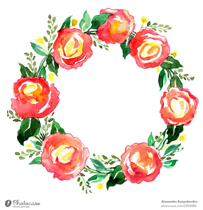 Watercolor wreath Nature Plant Spring Summer Autumn Flower Rose Leaf Blossom Blossoming Fragrance Joy Happiness Spring fever Wreath Painting (action, artwork)