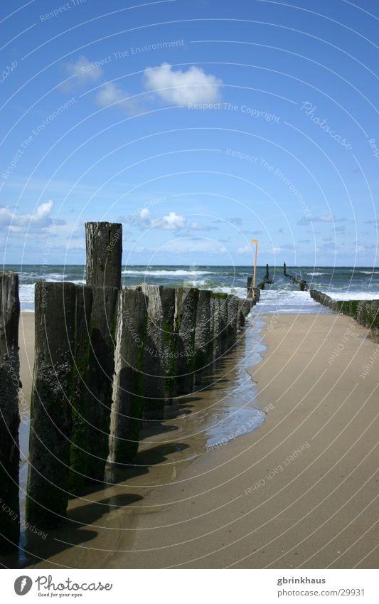 Water Sky Ocean Beach Sand Netherlands High tide Low tide Wooden stake
