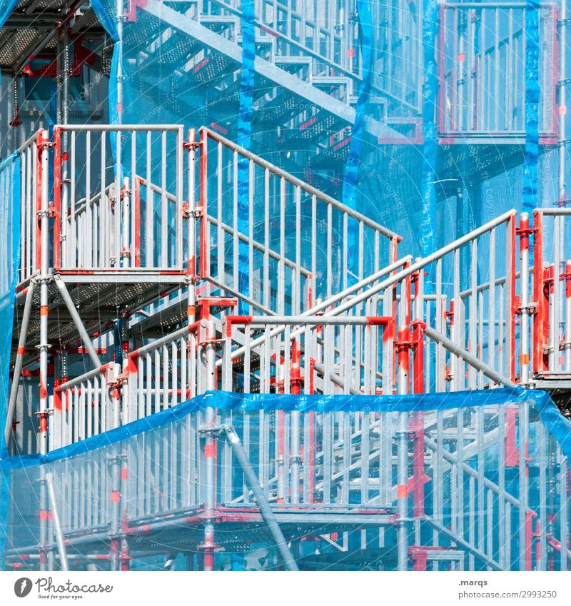 makeshift Construction site Stairs Banister Exceptional Blue Gray Red White Chaos Irritation Lanes & trails Problem solving Scaffold Colour photo Exterior shot