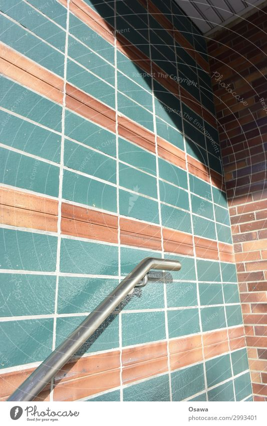Input green tiled House (Residential Structure) Building Architecture Detail Section of image Wall (building) Wall (barrier) straps Tile Earthenware Stripe Grid