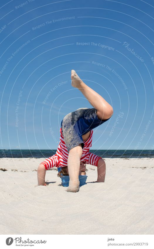 headstand Playing Vacation & Travel Summer Summer vacation Beach Ocean Child Infancy Legs 3 - 8 years Horizon Baltic Sea Movement Happiness Happy Maritime