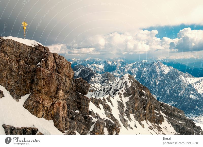 crowning the crown Nature Landscape Clouds Weather Rock Alps Mountain Peak Snowcapped peak Tall Gold Fear of heights Target Zugspitze Peak cross Mountaineering