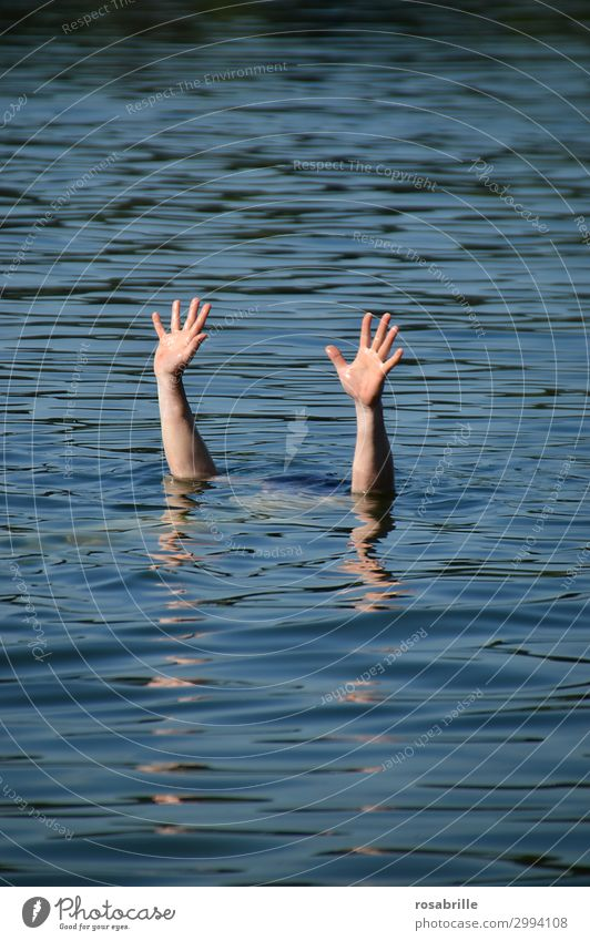 helpless and lost. Aquatics Swimming & Bathing Human being Man Adults Arm Hand 1 Water Lake Blue Compassion Death Fatigue Fear Fear of death Fear of the future