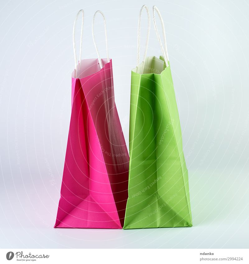 rectangular pink and green paper shopping bags Lifestyle Shopping Design Business Container Fashion Paper Packaging Package Modern New Green Pink White Colour