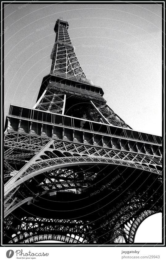 Paris France Eiffel Tower Worm's-eye view Europe Black & white photo Architecture