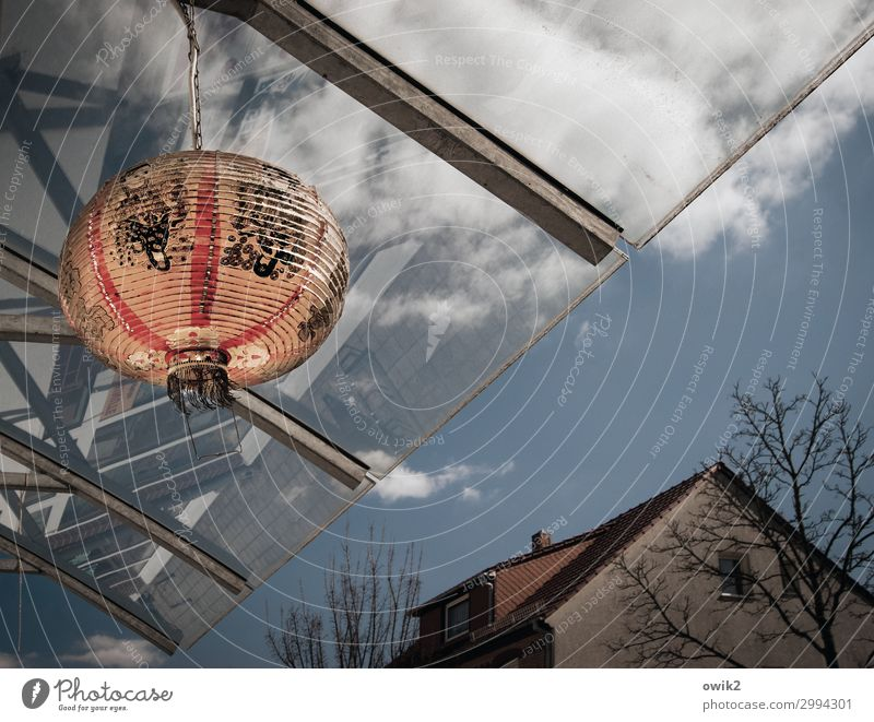 Sky Red Tree House (Residential Structure) Clouds Lamp Illuminate Characters Paper Sign Downtown Sphere Exotic Hang Easy Small Town