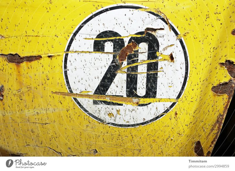 20 Vehicle Utility vehicle Metal Plastic Digits and numbers Authentic Simple Yellow Emotions Fender Label Scratch mark Rust Round speed sticker Black White